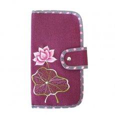 ベトナム 蓮の花(ロータス) 刺繍 パスポート&カードケース (パープル)
