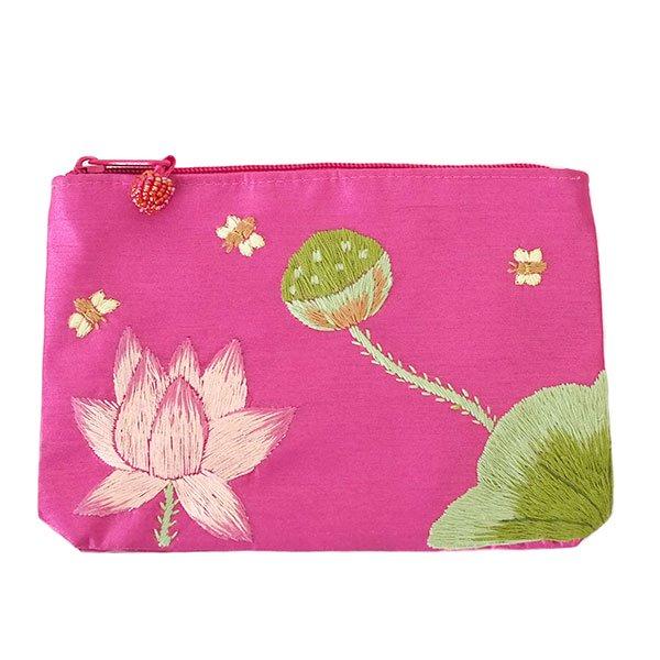 ベトナム 蓮の花(ロータス)刺繍 ポーチ(ビーズ付き ピンク)
