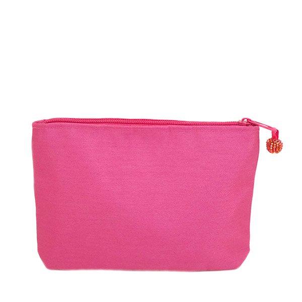 ベトナム 蓮の花(ロータス)刺繍 ポーチ(ビーズ付き ピンク)【画像2】