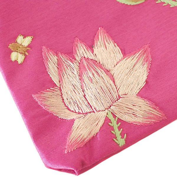 ベトナム 蓮の花(ロータス)刺繍 ポーチ(ビーズ付き ピンク)【画像3】