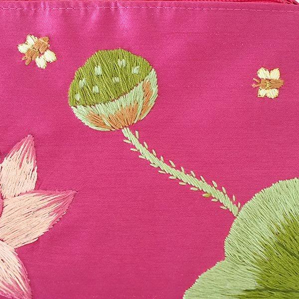 ベトナム 蓮の花(ロータス)刺繍 ポーチ(ビーズ付き ピンク)【画像4】