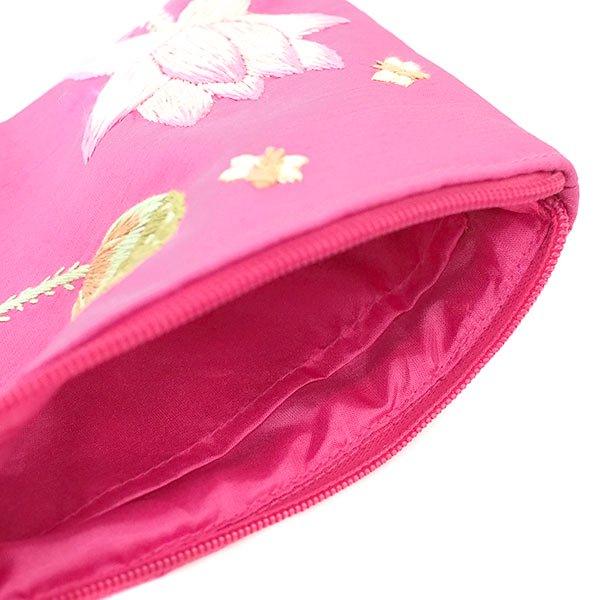 ベトナム 蓮の花(ロータス)刺繍 ポーチ(ビーズ付き ピンク)【画像5】