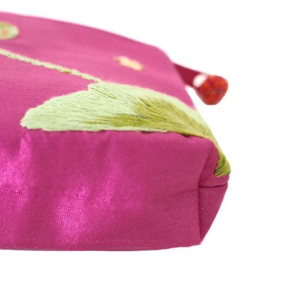 ベトナム 蓮の花(ロータス)刺繍 ポーチ(ビーズ付き ピンク)【画像6】