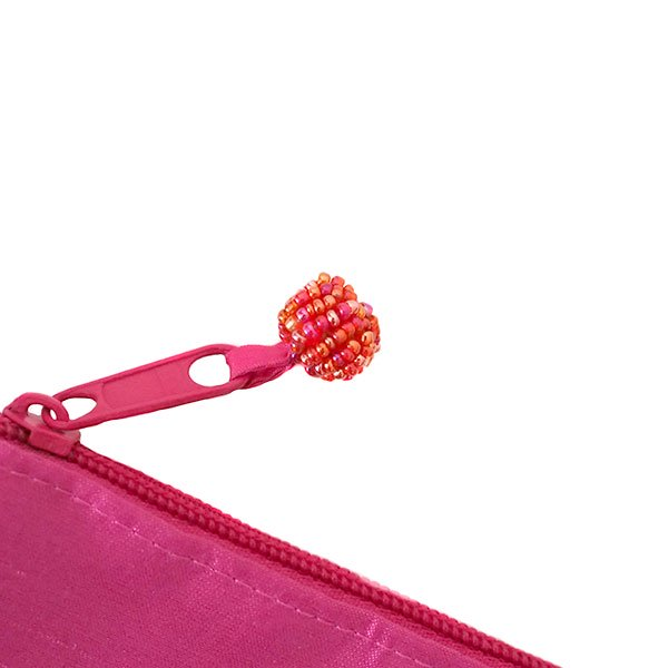 ベトナム 蓮の花(ロータス)刺繍 ポーチ(ビーズ付き ピンク)【画像7】