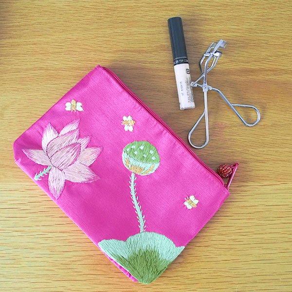 ベトナム 蓮の花(ロータス)刺繍 ポーチ(ビーズ付き ピンク)【画像8】