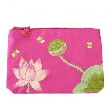 ポーチ ベトナム 蓮の花(ロータス)刺繍 ポーチ(ビーズ付き ピンク)