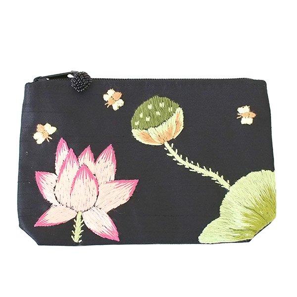 ベトナム 蓮の花(ロータス)刺繍 ポーチ(ビーズ付き ブラック)