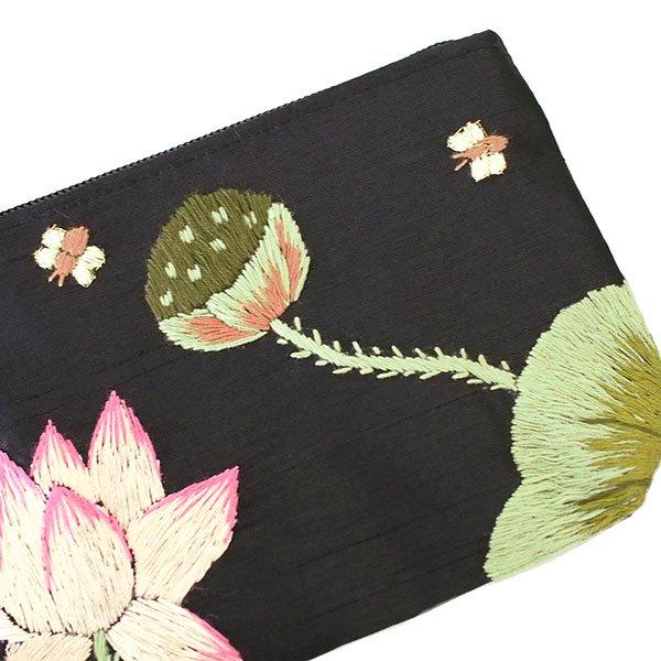 ベトナム 蓮の花(ロータス)刺繍 ポーチ(ビーズ付き ブラック)【画像4】