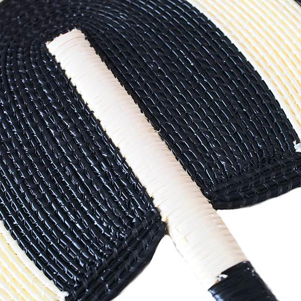 セネガル ビニール 団扇(ブラック×クリーム)【画像3】