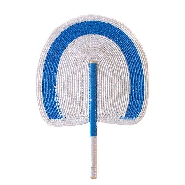 セネガル ビニール 団扇(ホワイト×ブルー)