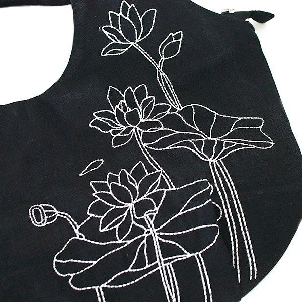 ベトナム 蓮(ロータス)ステッチ刺繍 トートバッグ(ブラック)【画像4】