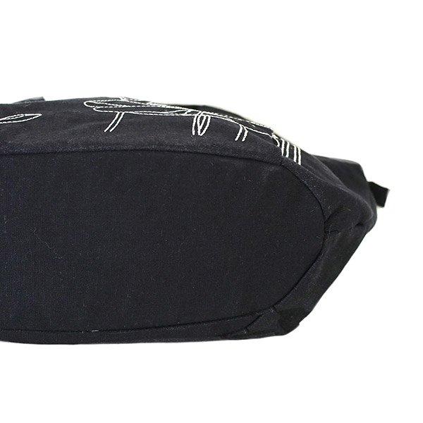 ベトナム 蓮(ロータス)ステッチ刺繍 トートバッグ(ブラック)【画像6】