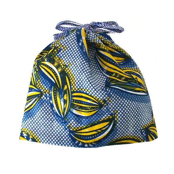 ブルキナファソ パーニュ ミニ巾着(ブルー)