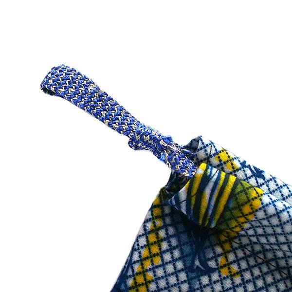 ブルキナファソ パーニュ ミニ巾着(ブルー)【画像3】