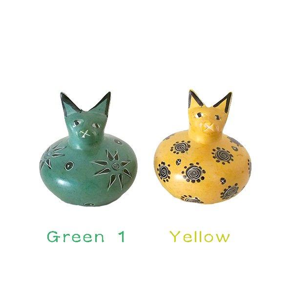 ケニア  ソープストーン だるま 猫(4色)【画像3】