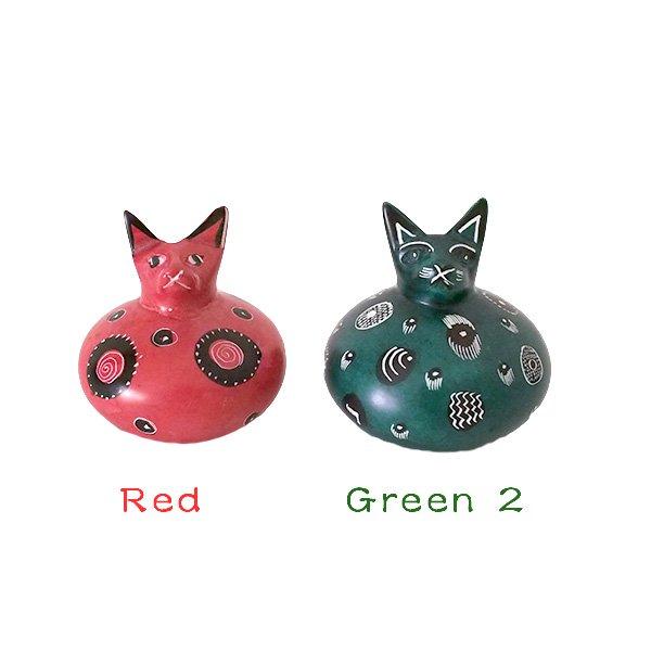 ケニア  ソープストーン だるま 猫(4色)【画像4】