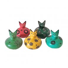 ケニア  ソープストーン だるま 猫(4色)