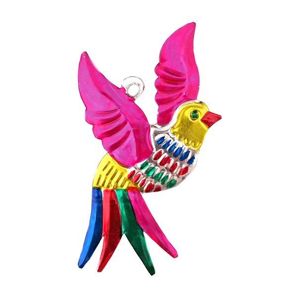 メキシコ ブリキ オーナメント(小鳥 ピンク)