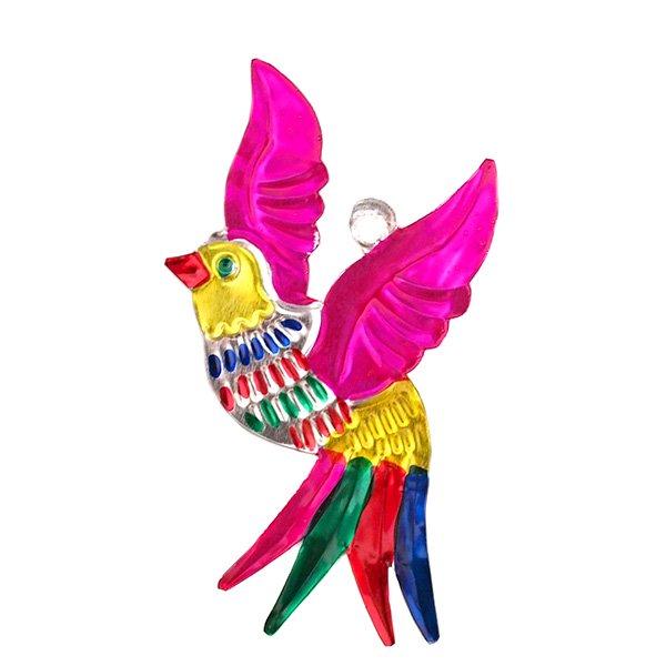 メキシコ ブリキ オーナメント(小鳥 ピンク)【画像2】