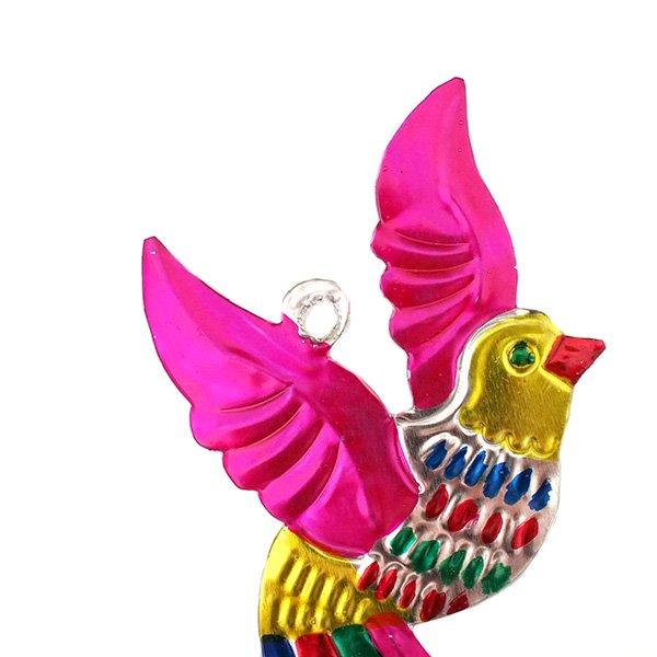 メキシコ ブリキ オーナメント(小鳥 ピンク)【画像3】