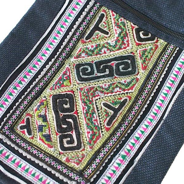【送料無料】ベトナム 黒モン族 刺繍 ポシェット A【画像3】