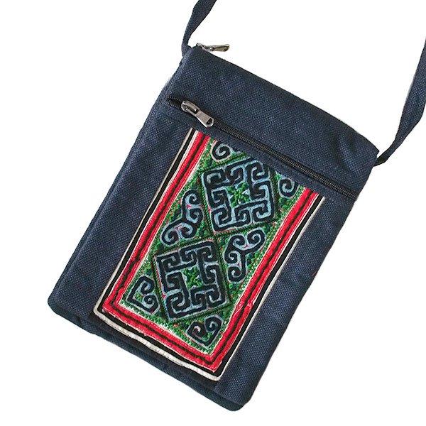 ベトナム 黒モン族 古布 刺繍  ポシェット (B)