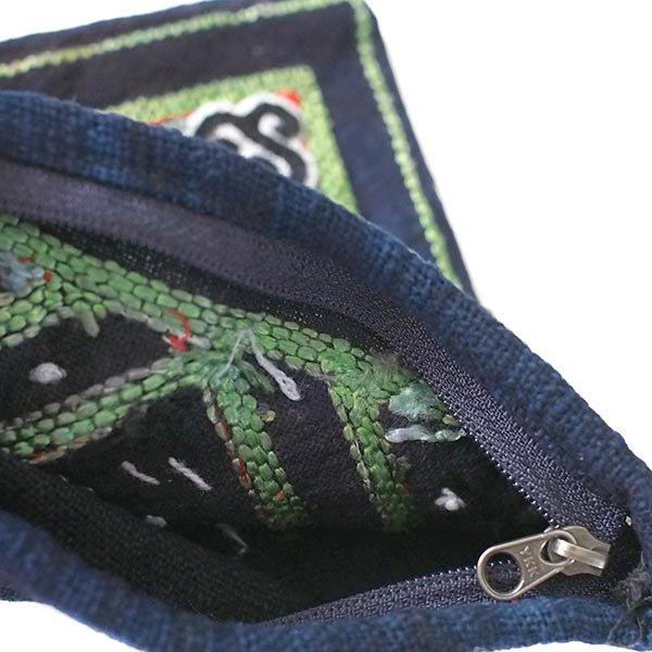 黒モン族 古布 刺繍 ポーチ(正方形 A 17×16)民族 刺繍 / ベトナム直輸入【画像4】