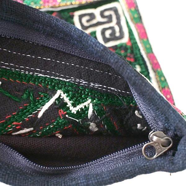 黒モン族 古布 刺繍 ポーチ(正方形 C 17×18)民族 刺繍 / ベトナム直輸入【画像5】
