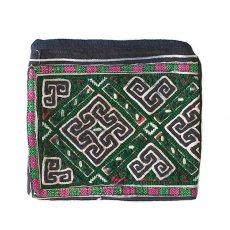 ベトナム 少数民族 黒モン族 古布 刺繍 ポーチ(正方形 C 17×18)民族 刺繍 / ベトナム直輸入