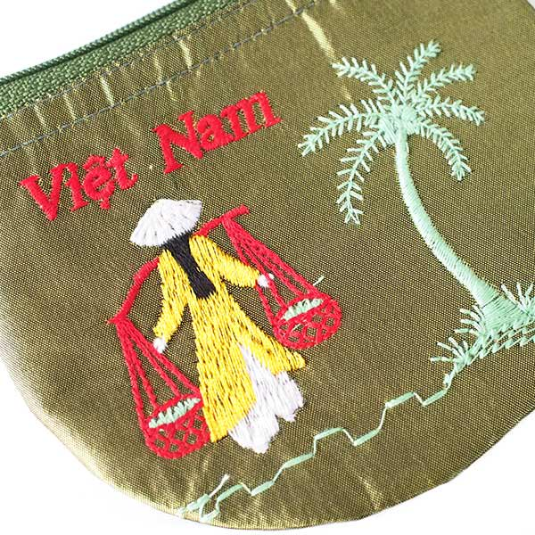 ベトナム  アオザイ 刺繍 ポーチ(天秤棒 4色)【画像4】