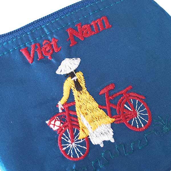 ベトナム  アオザイ 刺繍 ポーチ(自転車 3色)【画像5】