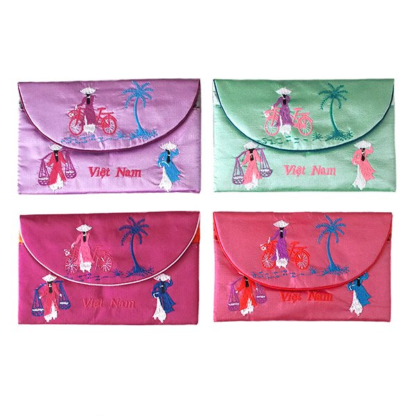 ベトナム アオザイ 刺繍ポーチ 財布(A)