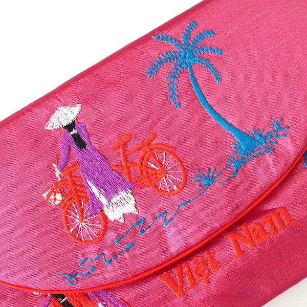 ベトナム アオザイ 刺繍ポーチ 財布(A)【画像2】