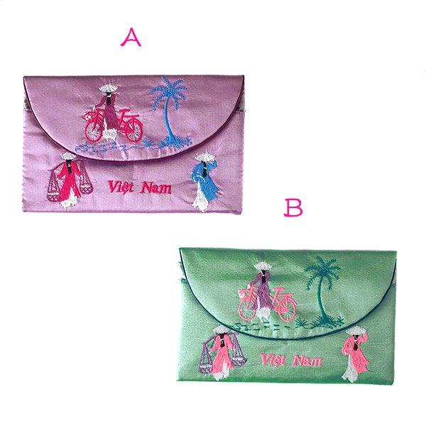 ベトナム アオザイ 刺繍ポーチ 財布(A)【画像5】