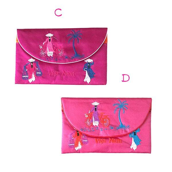 ベトナム アオザイ 刺繍ポーチ 財布(A)【画像6】