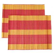 ベトナム 竹 ランチョンマット(レッド)30cm×40cm