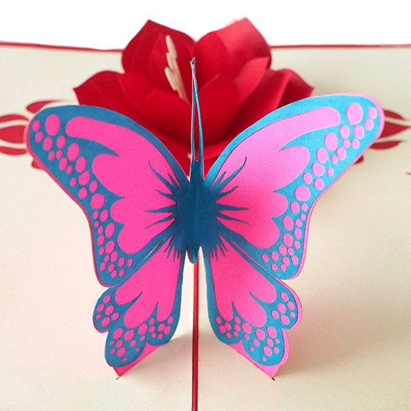 ベトナム 切り絵のポップアップ(蓮の花と蝶々  15×10)【画像2】