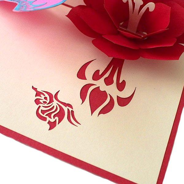 ベトナム 切り絵のポップアップ(蓮の花と蝶々  15×10)【画像4】