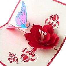 ベトナム 切り絵のポップアップ(蓮の花と蝶々  15×10)