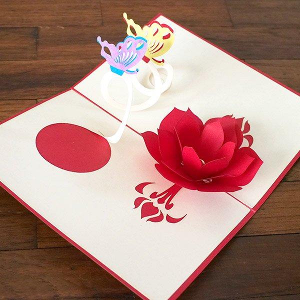 ベトナム 切り絵のポップアップ(蓮の花と2匹の蝶々 15×10)【画像3】