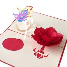 ベトナムの手仕事  ベトナム 切り絵のポップアップ(蓮の花と2匹の蝶々 15×10)