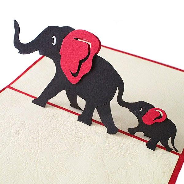 ベトナム 切り絵 ポップアップカード(象の親子 15×10)