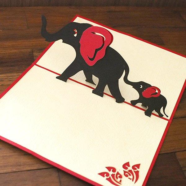 ベトナム 切り絵 ポップアップカード(象の親子 15×10)【画像4】