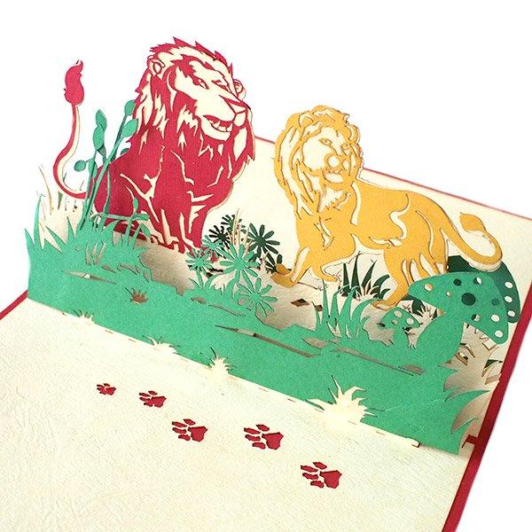ベトナム 切り絵 ポップアップカード(ライオン 15×10)