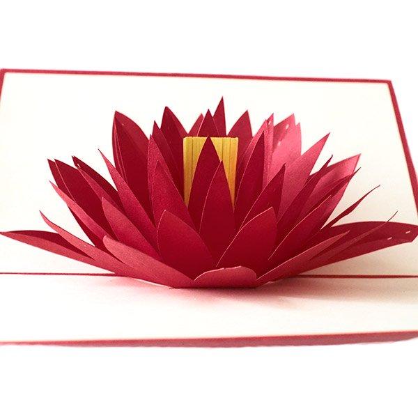 ベトナム 切り絵 ポップアップカード(蓮の花 睡蓮 18×11)【画像2】