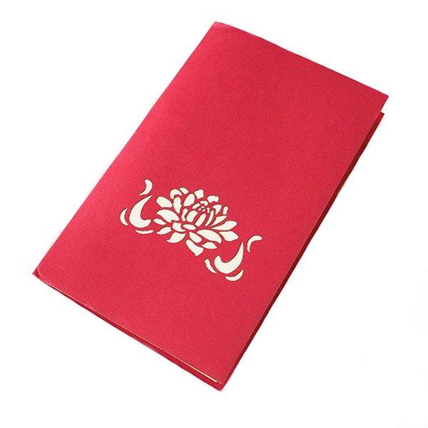 ベトナム 切り絵 ポップアップカード(蓮の花 睡蓮 18×11)【画像4】