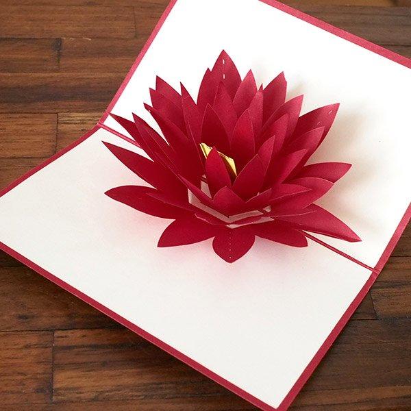 ベトナム 切り絵 ポップアップカード(蓮の花 睡蓮 18×11)【画像5】
