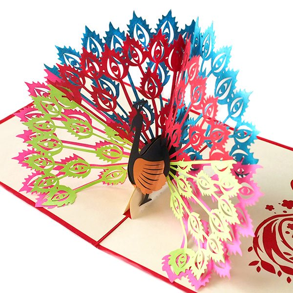 ベトナム 切り絵 ポップアップカード(クジャク 17×15)