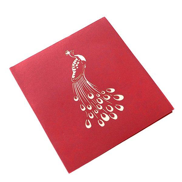 ベトナム 切り絵 ポップアップカード(クジャク 17×15)【画像3】