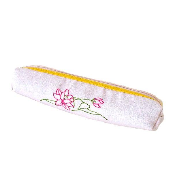 ベトナム  蓮の花(ロータス)刺繍  ペンケース(細 A)【画像2】